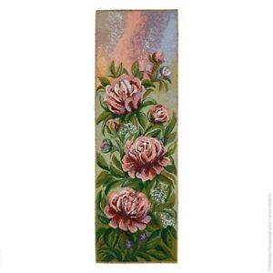Tápiz Tapicería Tapestry Panel Imagen de Tela Peonías Artesanal Tela 25x75