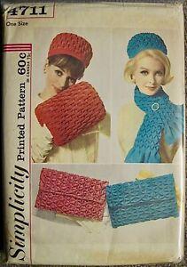 Vintage UNCUT 1960's Smocked Hat Muff Bag & Scarf Pattern #4711 One Size