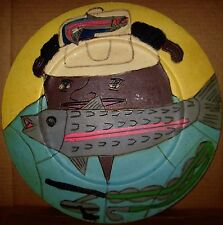 Painted & carved wood plate Piece by well known Folk Artist John Martin 1993