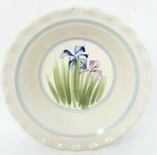 Vintage Handmade Painted Ceramic Iris Flower Plot Ruffled Ridge Bowl