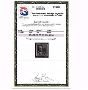 GENUINE SCOTT #821 VF-XF MINT PRISTINE OG NH 1938 PREXY BLACK PSE GRADED CERT
