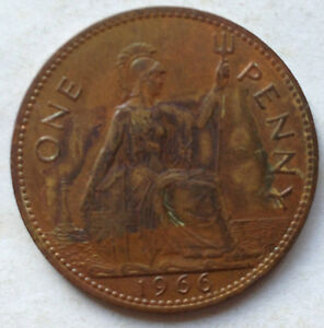Great Britain 1966 1 Penny coin
