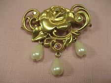Brooch AVON Gold tone rose with dangling Faux pearls and rhinestones