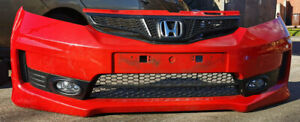 HONDA JAZZ Si 11-15 FACELIFT FRONT BUMPER COMPLETE WITH FOGS+GRILLS GENUINE RED