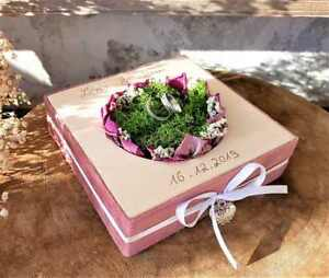Hochzeit Ringkissen Mille Fleurs Samt rosa eckig für Eheringe mit Namen