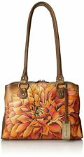 ANUSCHKA Hand Painted Leather Top Handle Bag - Dreamy Dahlias Bronze