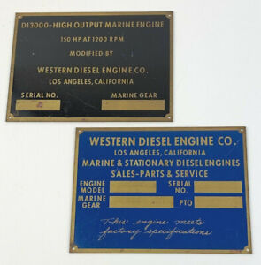 Western Diesel Brass Etched Engine Plaques Data Plates NOS Vintage Los Angeles