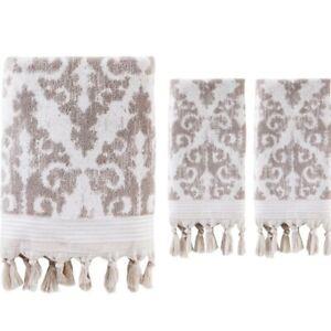 3pk SATURDAY KNIGHT LTD. Mirage Fringe Bath & Hand Towels | Dark Taupe | 🆕