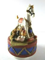 T. Browning 1987 Porcelain Music Spinner Rocking Horse Clown Bear Plays Toyland