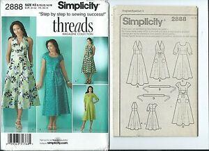 S 2888 sewing pattern DRESS bodice variations BELT sew sizes 8,10,12,14,16 UNCUT