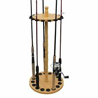 Fishing Spinning Rod Holder Portable 16-Rods Storage Organizer Rack Wood Hanger