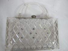 LUCITE CLEAR PURSE VINTAGE RHINESTONE ACCENTS CLASP 50'S