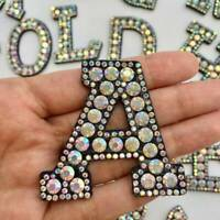 A-Z Letter Glitter Rhinestone Iron-on Patches Applique DIY Clothing Stickers