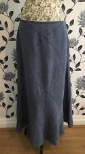 MONSOON Long Blue Dressy Fit & Flare Linen Denim Boho Maxi Skirt Size 10