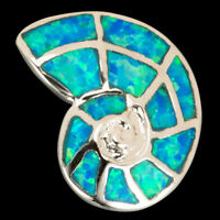 Solarium Seashell Ocean Blue Fire Opal Inlay Silver Jewelry Necklace Pendant