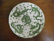"""Vintage 5 1/2"""" Tuscan Bone China saucer.  Green Dragons, White background"""