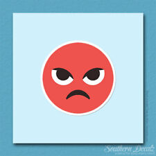 "Pouty Angry Smiley Emoji - Vinyl Decal Sticker - c137 - 3.75"" x 3.75"""