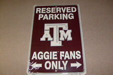 "Texas A & M 8"" x 12"" Fan Parking Sign"