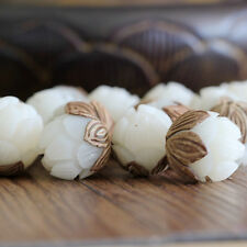1x White Bodhi Seed Tibetan Buddhist Prayer Carved Lotus Beads FOR Bracelet DIY