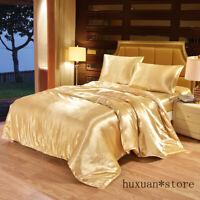 Satin Silk Bedding Set Luxury Queen King Quilt Duvet Cover Linen Single Double