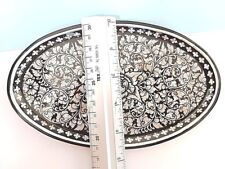 Beautiful Mother of Pearl Inlay & Wood Oval Plate Dish Tray lacquerware Dish
