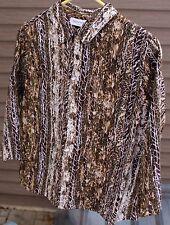 Women's Brown Multi-Colored Shirt by Breckenridge; Size:  PL