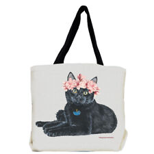Cat Black Cat with Flowers Tote Bag