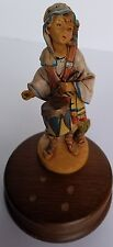 "Genuine Fontanini Drummer Boy Music Box Italy 7"" Wooden Figurine 1990 Roman Inc"