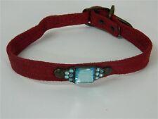 Collare cani Bordeaux con strass e pietra Azzurri 33 cm 13 mm M241