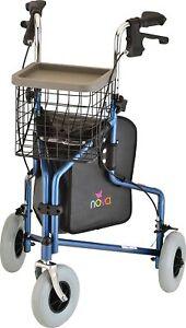 """NOVA Traveler 3-Wheel Rollator Walker, All Terrain 8"""" Wheels w/ Bag/Basket/Tray"""