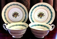 2x Wedgwood Bone China APPLEDORE Cup/Saucer Set Raised Enamel Fruit Basket _MINT