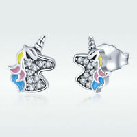 Unicorn New 925 Sterling Silver Lovely Stud Earrings Charm Beauty Women Jewelry