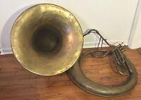 Antique A K Huttl Graslitz Brass Tuba 3 Valves w/ Removable Bell Germany