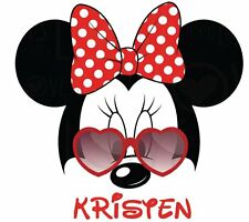 DISNEY MINNIE MOUSE  PERSONALIZED SUNGLASSES SHIRT IRON ON TRANSFER