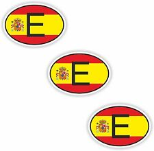 3x Oval Flag Stickers Spain Small Country Code Laptop Smartphone Case