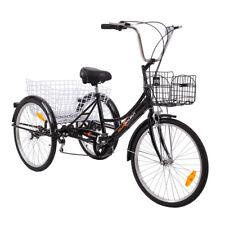 """24"""" Seniorenrad Dreirad Für Erwachsene 6 Gänge Fahrrad Erwachsenendreirad + Korb"""