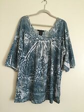 SIMPLY IRRESISTABLE  Women's Blouse Shirt  1 X Multi color lace Tunic Top NWOT