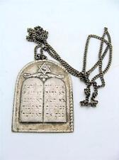 Silver Judaica Ten Commandments Amulet w/ Chain LUHOT HABRIT