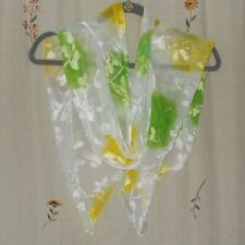 Oblong, Silk Scarf, Crinkle, Burnout Floral Design in Cream, Lime, & Yellow
