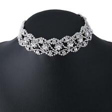 Sweet Crystal Rhinestone Pendant Choker Collar Necklace Women Wedding Jewelry