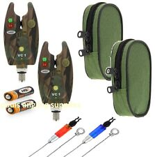 2 x Camo Carp Fishing Bite Alarms Alarm  & Bobbins ,Indicators For Rod Pod