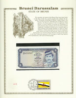 Brunei 1988 1 Ringgit P6d UNC w/FDI UN FLAG STAMP Prefix A/37