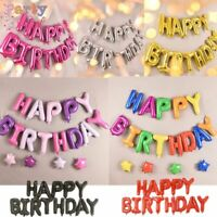 Happy Birthday Balloons Bunting Banner Self Inflating Foil Letter Decorations UK