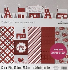RECOLLECTIONS  12 x 12 Paper Pad CHRISTMAS RED WHITE Cardstock - 48 sheets