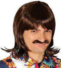 Marron Années 1970 Disco Rétro Perruque Adulte Costume Déguisement Hommes Mulet