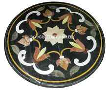 """30"""" Black Marble Round Dining Table Top Marquetry Inlay Work Kitchen Decors H952"""