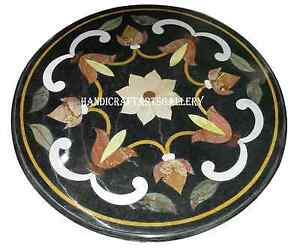 "30"" Black Marble Round Dining Table Top Marquetry Inlay Work Kitchen Decors H952"