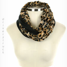 CROFT & BARROW Faux FUR INFINITY Print LEOPARD SCARF with BLACK Knit WINTER LOOP
