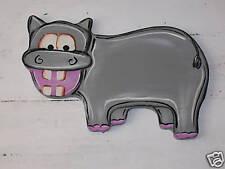 KIDS WOOD WALL ART DECOR - HIPPO - ZOO ANIMAL