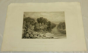 1819 Antique Print/JUNCTION/GRETA & TEES AT ROKEBY/NORTH YORKSHIRE,ENGLAND/13X19